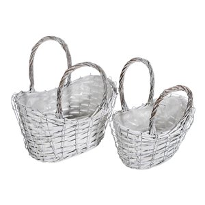 IH Casa Decor Set of 2 Nesting Wicker Planters with Handle (Oval)