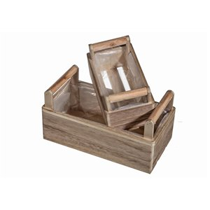 IH Casa Decor Set of 2 Nesting Wooden Crate Planters with Lining