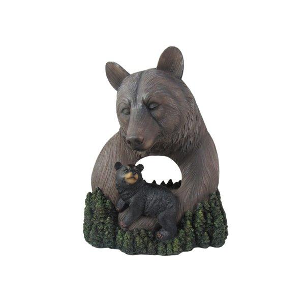 Figurine de jardin en polyrésine en forme de maman ours et son ourson de IH Casa Decor (8,5 po x 5 po)