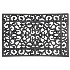IH Casa Decor 36-in W x 23-in L Black Circle Rectangular Indoor Door mat