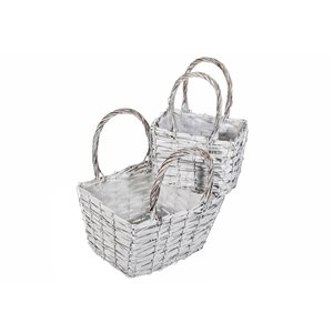 IH Casa Decor Set of 2 Nesting Wicker Planters with Handle (Rectangle)