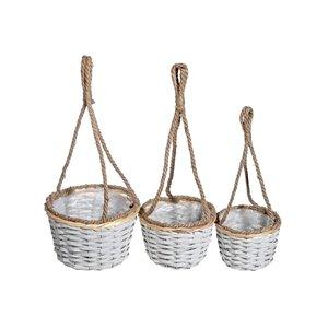 IH Casa Decor Set of 3 Hanging White Wicker Planters (Round)