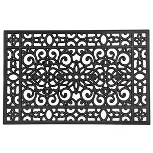 IH Casa Decor 36-in W x 23-in L Black Floral Rectangular Indoor Door mat