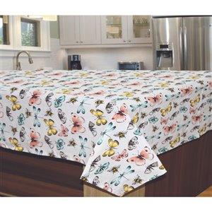 Nappe en coton avec motifs de papillons 60 po x 90 po de IH Casa Decor