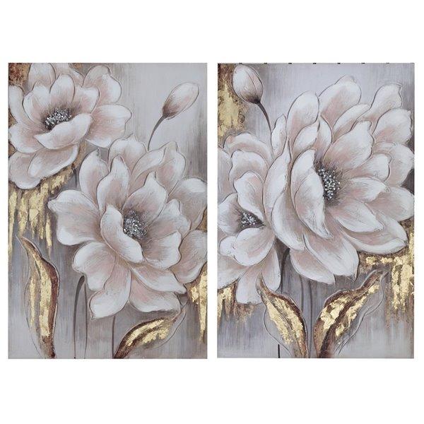 Peinture murale de fleurs en bois 36 po h. x 1 po l. par IH Casa Decor (Ensemble de 2)