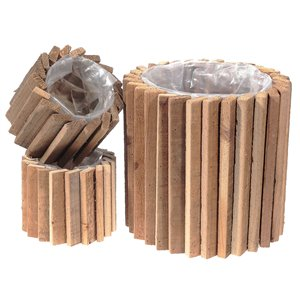 IH Casa Decor Round Domino Wood Block Planter with Liner (Set of 3)