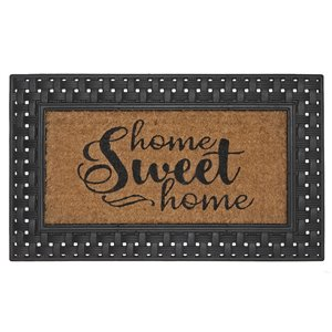 IH Casa Decor 30-in W x 18-in L Brown Home Sweet Home Rectangular Indoor Door mat