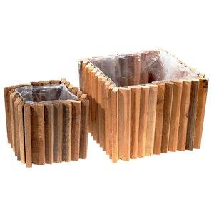 IH Casa Decor Square Domino Wood Block Planter with Liner (Set of 2)