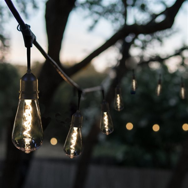 Guirlandes lumineuses à DEL enfichables à 16 ampoules rétro de 30 pi par Danson Decor