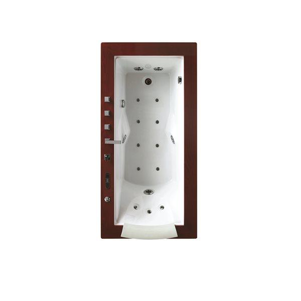 Baignoire à remous encastrable Ambrogia de Bouticcelli en acrylique de 36 po l. x 72 po L. avec drain à droite, robinet inclus