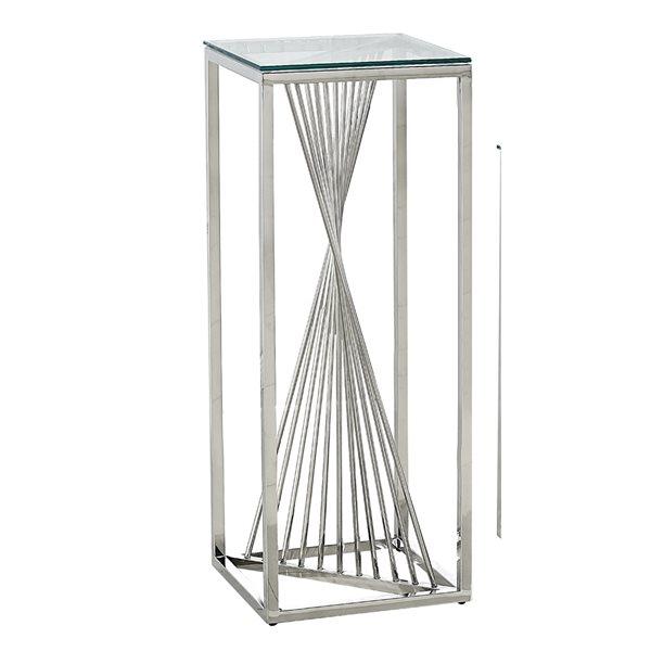 Table d'appoint carrée en verre de 36po Prisma par HomeTrend, argent