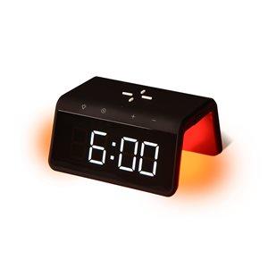 Réveil avec chargeur sans fil Qi et veilleuse multicolore par RCA