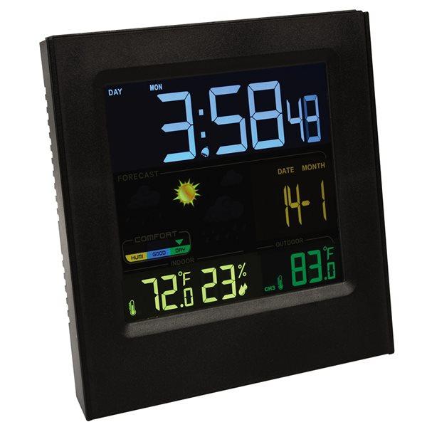 Station météo numérique noire avec capteur extérieur sans fil par RCA