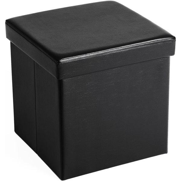 Pouf de rangement carré en faux cuire noir de Songmics
