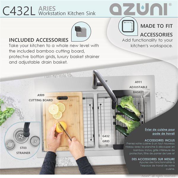 Évier de cuisine encastré à double cuve en acier inoxydable d'Azuni avec poste de travail, 30po x 20,5po