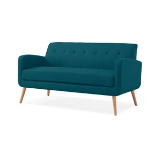 Handy Living Mcnab Midcentury Peacock Blue Polyester/polyester Blend Sofa with Natural Wood Legs