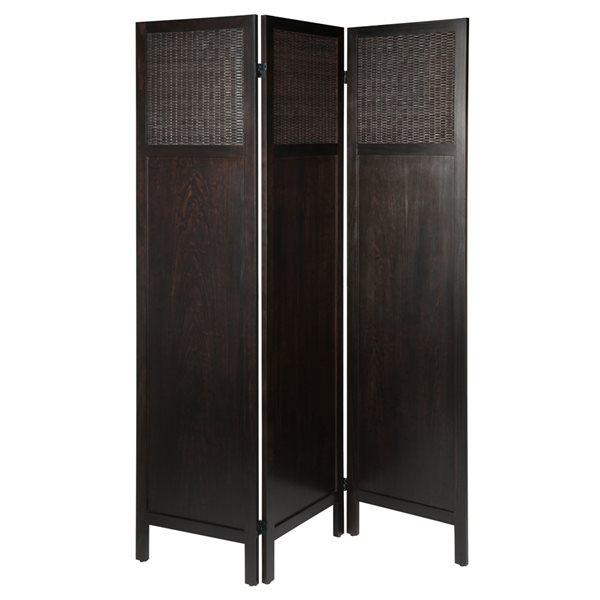 Séparateur de pièce pliant brun et en bois composite à 3 panneaux de style transitionnel, par Winsome Wood