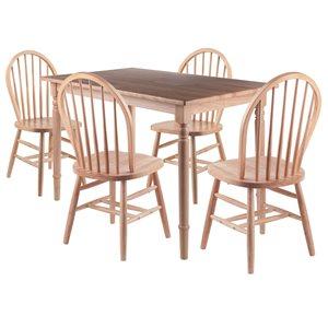 Ensemble de salle à manger Ravenna par Winsome Wood Naturel avec table rectangulaire, 5 mcx