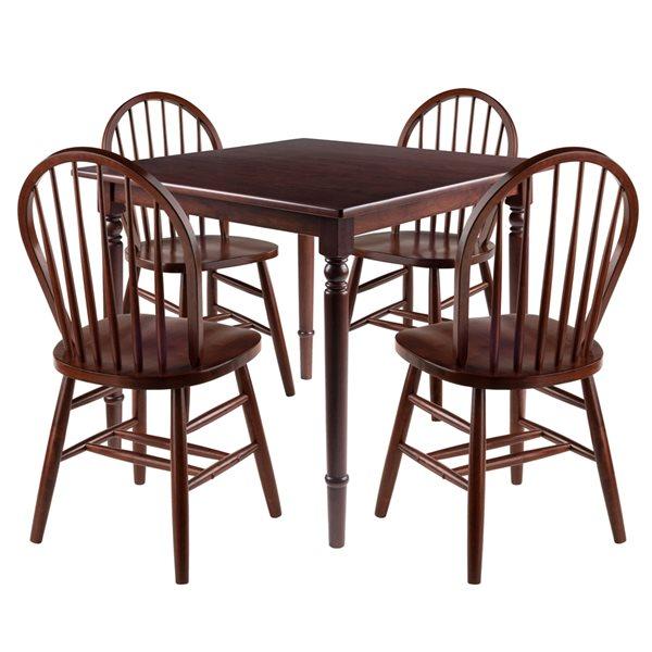 Ensemble de salle à manger Mornay par Winsome Wood en noyer avec table carrée, 5 mcx