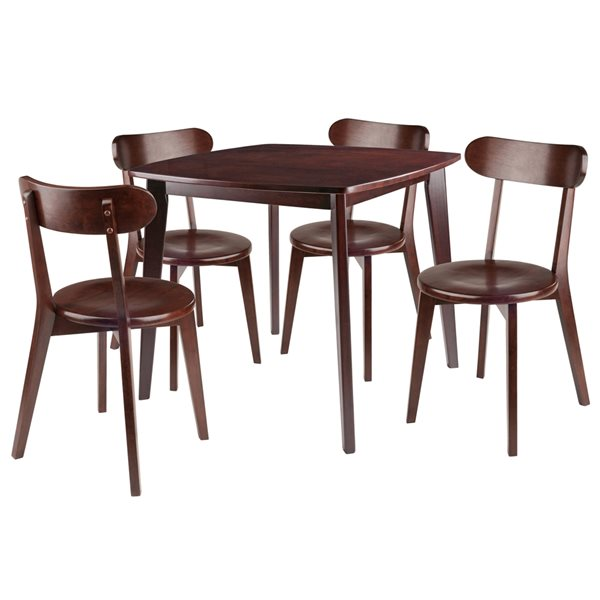 Ensemble de salle à manger Pauline par Winsome Wood en noyer avec table carrée, 5 mcx