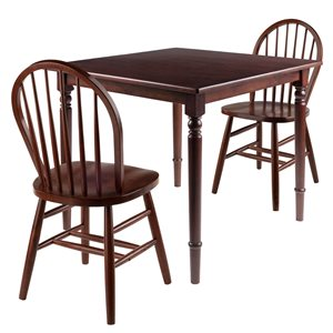 Winsome Wood Mornay Walnut Dining Set with Square Table - 3-Piece