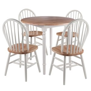 Winsome Wood Sorella Natural and White Dining Set with Round Table - 5-Piece