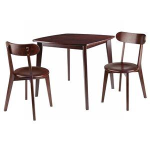 Ensemble de salle à manger Pauline par Winsome Wood en noyer avec table carrée, 3 mcx