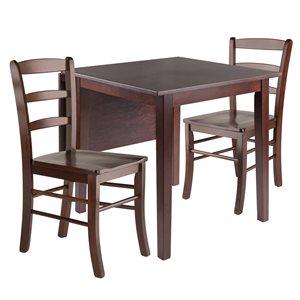 Ensemble de salle à manger Perrone par Winsome Wood en noyer avec table rectangulaire, 3 mcx