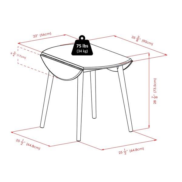 Ensemble de salle à manger Moreno par Winsome Wood en noir avec table ronde, 5 mcx