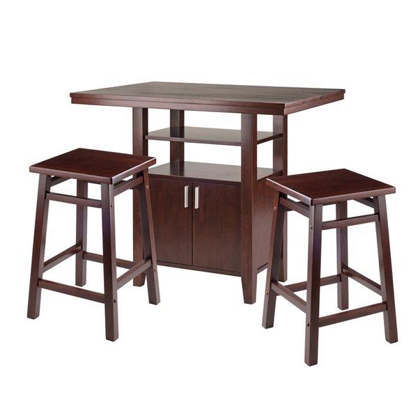 Ensemble de salle à manger Albany par Winsome Wood en noyer avec table rectangulaire, 3 mcx