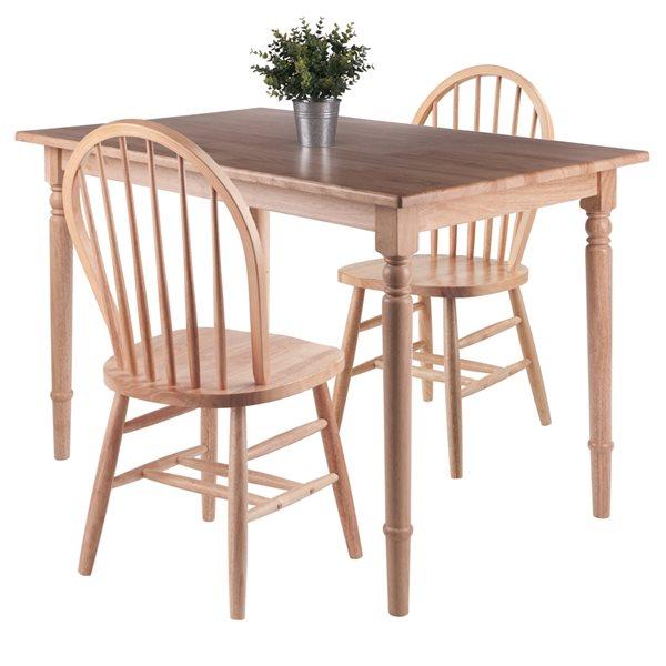Ensemble de salle à manger Ravenna par Winsome Wood Naturel avec table rectangulaire, 3 mcx