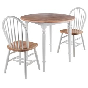 Winsome Wood Sorella Natural and White Dining Set with Round Table - 3-Piece