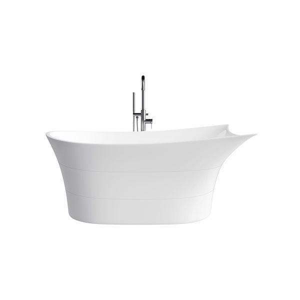 Baignoire autoportante ovale par A&E Bath & Shower,  33 po l. x 69 po L., acrylique blanc brillant, drain réversible
