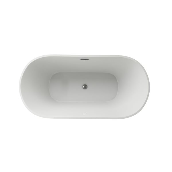 Baignoire autoportante ovale par A&E Bath & Shower,  29,5 po l. x 59 po L., acrylique blanc brillant, drain central