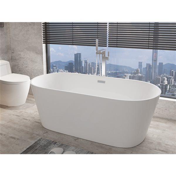 Baignoire ovale autoportante par A&E Bath & Shower  1,5 po l. x 66,9 po L., acrylique blanc brillant, drain central
