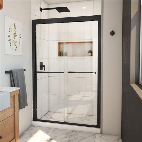 Porte de douche coulissante à demi-cadre noir satiné Duet Plus de DreamLine, verre transparent, 72 po h. x 44 à 48 po l.