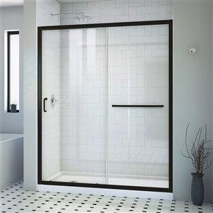 DreamLine Infinity-Z Black And White 2-Piece 60-in L x 32-in W x 75-in H Alcove Shower Kit