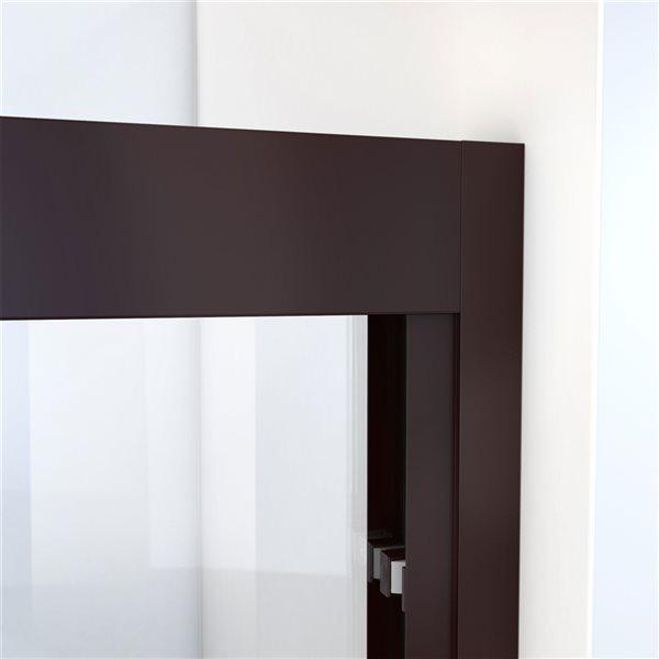 Porte de douche coulissante à demi-cadre bronze huilé Duet Plus de DreamLine, verre transparent, 72 po h. x 44 à 48 po l.