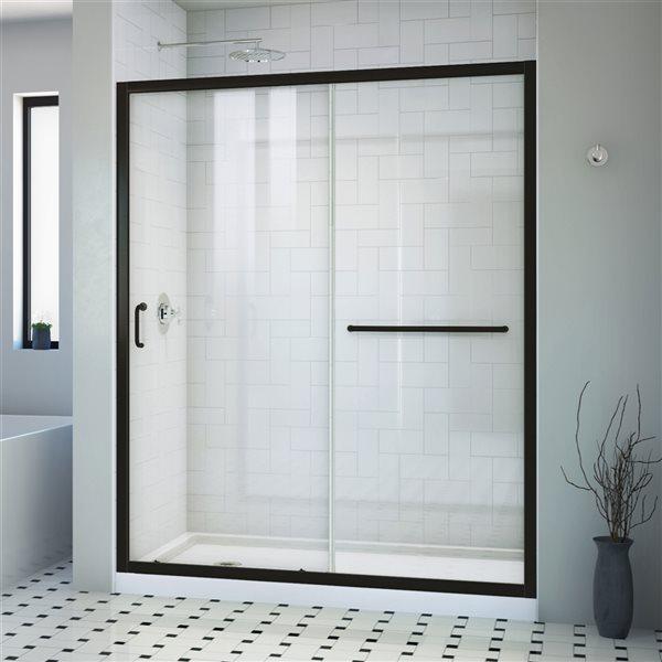 Porte de douche coulissante Infinity-Z à demi-cadre noir satiné de DreamLine, verre transparent, 72 po h. x 56 à 60 po l.