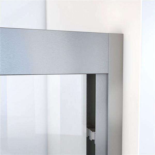 Porte de douche coulissante à demi-cadre nickel brossé Duet Plus de DreamLine, verre transparent, 72 po h. x 44 à 48 po l.
