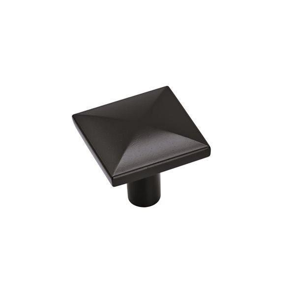Bouton d'armoire contemporain carré Extensity par Amerock de 1.13 po en noir, paquet de 10