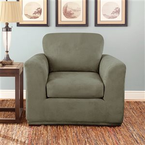 Sure Fit Stretch Suede Green Jacquard Chair Slipcover