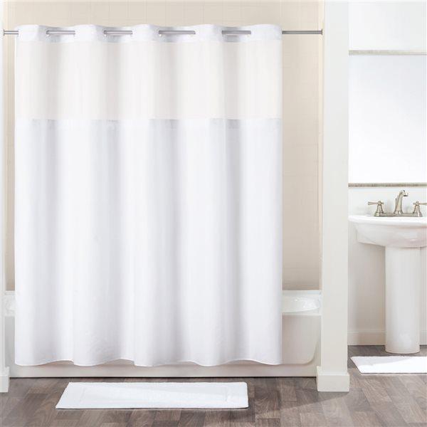 Rideau de douche Hookless en polyester blanc, 74po x 71po