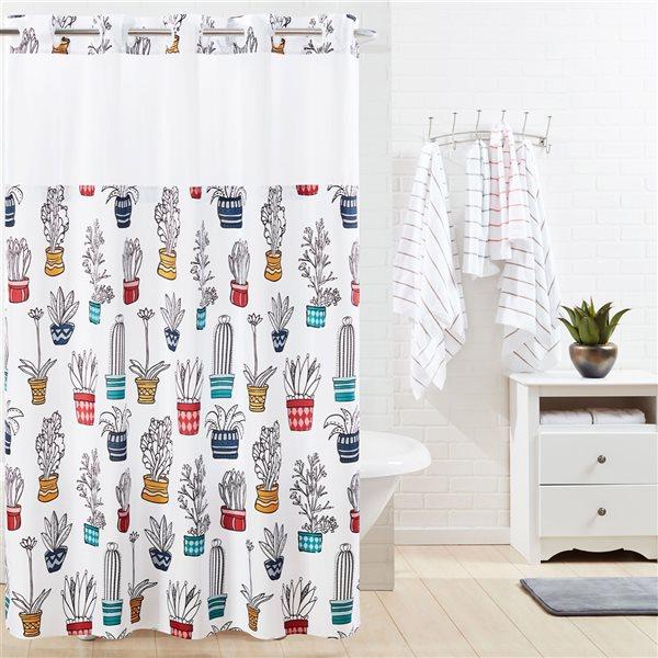 Rideau de douche Hookless à motif en polyester, 74po x 71po, multicolore
