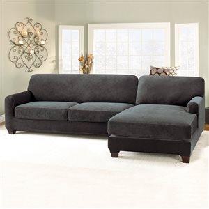 Sure Fit Stretch Pique Black Jacquard Sofa Slipcover