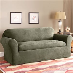 Sure Fit Stretch Suede Green Jacquard Sofa Slipcover