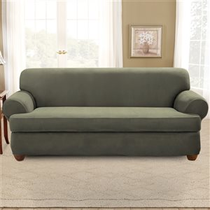 Sure Fit Stretch Suede Jacquard Sofa Slipcover - Green