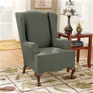 Sure Fit Stretch Suede Green Jacquard Wing Chair Slipcover