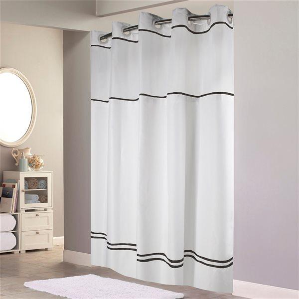 Rideau de douche Hookless à rayures en polyester, 74po x 71po, blanc et noir