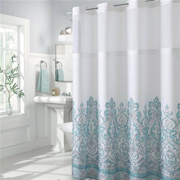Rideau de douche Hookless à motif floral en polyester, 74po x 71po, sarcelle